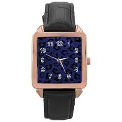 SKN5 BK-MRBL BL-LTHR Rose Gold Leather Watch