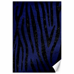 Skin4 Black Marble & Blue Leather Canvas 12  X 18