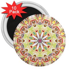 Intricate Flower Star 3  Magnets (10 Pack)