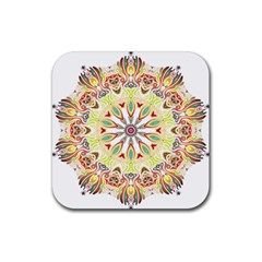Intricate Flower Star Rubber Square Coaster (4 pack)
