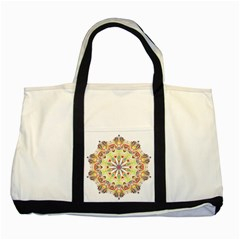 Intricate Flower Star Two Tone Tote Bag