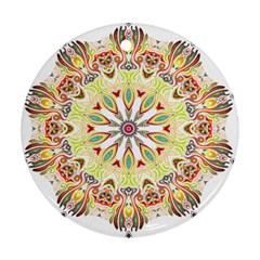 Intricate Flower Star Round Ornament (Two Sides)