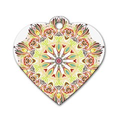 Intricate Flower Star Dog Tag Heart (Two Sides)