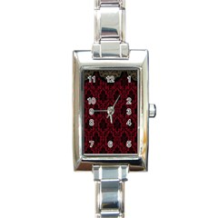 Elegant Black And Red Damask Antique Vintage Victorian Lace Style Rectangle Italian Charm Watch