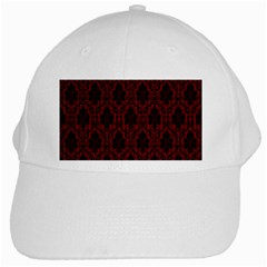 Elegant Black And Red Damask Antique Vintage Victorian Lace Style White Cap