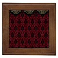Elegant Black And Red Damask Antique Vintage Victorian Lace Style Framed Tiles