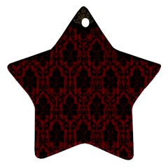 Elegant Black And Red Damask Antique Vintage Victorian Lace Style Ornament (Star)