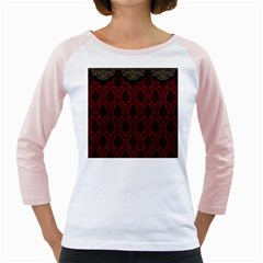 Elegant Black And Red Damask Antique Vintage Victorian Lace Style Girly Raglans