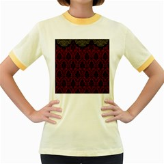 Elegant Black And Red Damask Antique Vintage Victorian Lace Style Women s Fitted Ringer T-Shirts