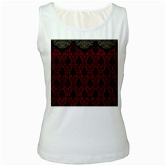Elegant Black And Red Damask Antique Vintage Victorian Lace Style Women s White Tank Top