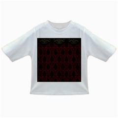 Elegant Black And Red Damask Antique Vintage Victorian Lace Style Infant/Toddler T-Shirts