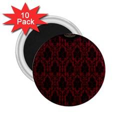 Elegant Black And Red Damask Antique Vintage Victorian Lace Style 2.25  Magnets (10 pack)