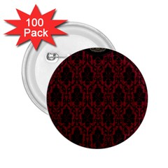 Elegant Black And Red Damask Antique Vintage Victorian Lace Style 2.25  Buttons (100 pack)