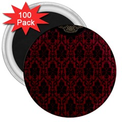 Elegant Black And Red Damask Antique Vintage Victorian Lace Style 3  Magnets (100 pack)