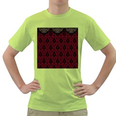 Elegant Black And Red Damask Antique Vintage Victorian Lace Style Green T-Shirt