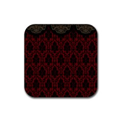 Elegant Black And Red Damask Antique Vintage Victorian Lace Style Rubber Square Coaster (4 pack)