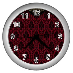 Elegant Black And Red Damask Antique Vintage Victorian Lace Style Wall Clocks (Silver)