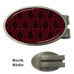 Elegant Black And Red Damask Antique Vintage Victorian Lace Style Money Clips (Oval)