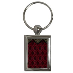 Elegant Black And Red Damask Antique Vintage Victorian Lace Style Key Chains (Rectangle)