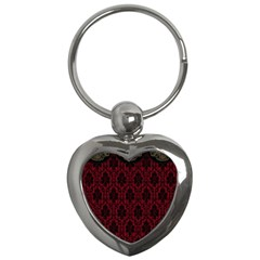 Elegant Black And Red Damask Antique Vintage Victorian Lace Style Key Chains (Heart)
