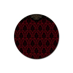 Elegant Black And Red Damask Antique Vintage Victorian Lace Style Rubber Coaster (Round)