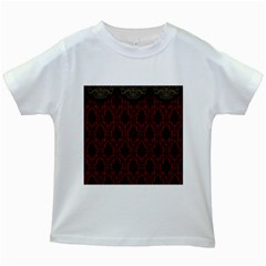 Elegant Black And Red Damask Antique Vintage Victorian Lace Style Kids White T-Shirts