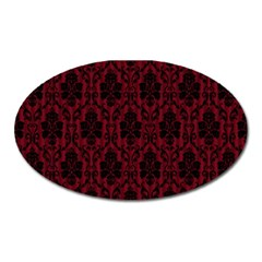 Elegant Black And Red Damask Antique Vintage Victorian Lace Style Oval Magnet
