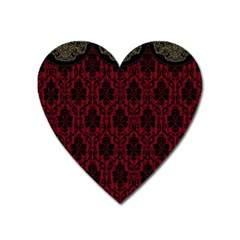 Elegant Black And Red Damask Antique Vintage Victorian Lace Style Heart Magnet