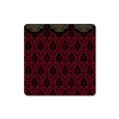 Elegant Black And Red Damask Antique Vintage Victorian Lace Style Square Magnet