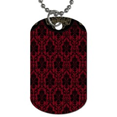 Elegant Black And Red Damask Antique Vintage Victorian Lace Style Dog Tag (One Side)