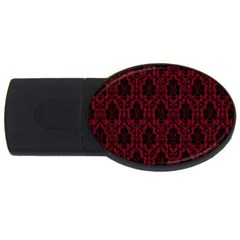 Elegant Black And Red Damask Antique Vintage Victorian Lace Style USB Flash Drive Oval (1 GB)