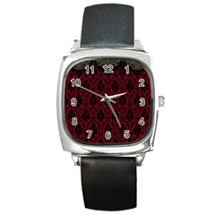 Elegant Black And Red Damask Antique Vintage Victorian Lace Style Square Metal Watch