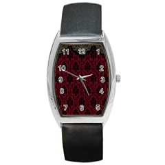 Elegant Black And Red Damask Antique Vintage Victorian Lace Style Barrel Style Metal Watch