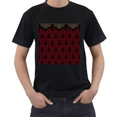 Elegant Black And Red Damask Antique Vintage Victorian Lace Style Men s T-Shirt (Black) (Two Sided)