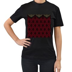 Elegant Black And Red Damask Antique Vintage Victorian Lace Style Women s T-Shirt (Black) (Two Sided)