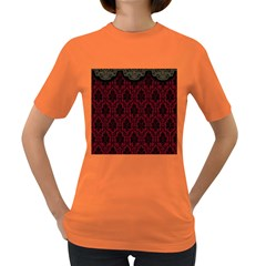 Elegant Black And Red Damask Antique Vintage Victorian Lace Style Women s Dark T-Shirt