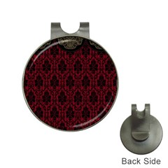 Elegant Black And Red Damask Antique Vintage Victorian Lace Style Hat Clips with Golf Markers