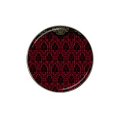 Elegant Black And Red Damask Antique Vintage Victorian Lace Style Hat Clip Ball Marker (4 pack)