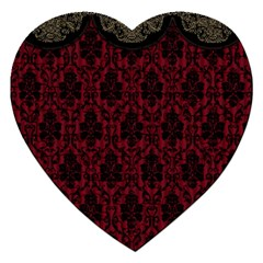 Elegant Black And Red Damask Antique Vintage Victorian Lace Style Jigsaw Puzzle (Heart)