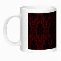 Elegant Black And Red Damask Antique Vintage Victorian Lace Style Night Luminous Mugs