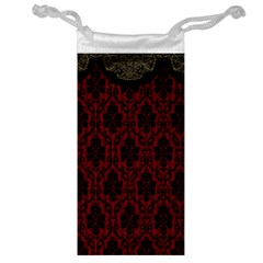 Elegant Black And Red Damask Antique Vintage Victorian Lace Style Jewelry Bag