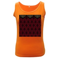 Elegant Black And Red Damask Antique Vintage Victorian Lace Style Women s Dark Tank Top