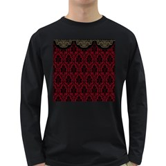 Elegant Black And Red Damask Antique Vintage Victorian Lace Style Long Sleeve Dark T-Shirts