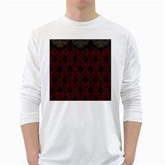 Elegant Black And Red Damask Antique Vintage Victorian Lace Style White Long Sleeve T-Shirts
