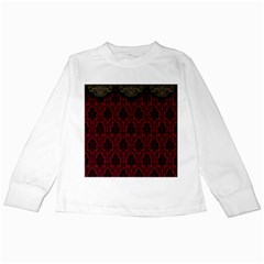 Elegant Black And Red Damask Antique Vintage Victorian Lace Style Kids Long Sleeve T-Shirts