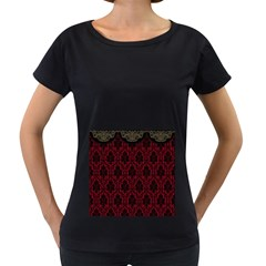 Elegant Black And Red Damask Antique Vintage Victorian Lace Style Women s Loose-Fit T-Shirt (Black)