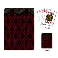 Elegant Black And Red Damask Antique Vintage Victorian Lace Style Playing Card