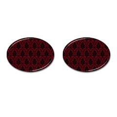 Elegant Black And Red Damask Antique Vintage Victorian Lace Style Cufflinks (Oval)