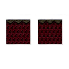 Elegant Black And Red Damask Antique Vintage Victorian Lace Style Cufflinks (Square)