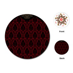 Elegant Black And Red Damask Antique Vintage Victorian Lace Style Playing Cards (Round)